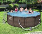 Bestway MYKONOS Fémvázas, rattan hatású kerti medence vízforgatóval és létrával, 366 x 100 cm