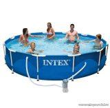 Intex Fémvázas kerti medence szett vízforgatóval, takarófóliával, vegyszeradagolóval, hőmérővel és levélcsapdával,  366 x 84 cm