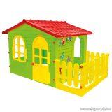 Madárkás nagy kerti házikó kerítéssel, játszóház