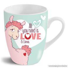 NICI All you need is love and Llamas lámás porcelán bögre, 310 ml