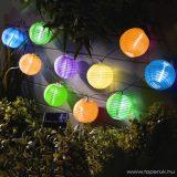 Garden of edeN 11227B Kültéri szolár lampion napelemes fényfüzér, 10 db színes lampion, hidegfehér LED világítással, 3,7 m