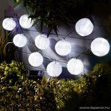 Garden of edeN 11227 Kültéri szolár lampion napelemes fényfüzér, 10 db fehér lampion, hidegfehér LED világítással, 3,7 m