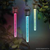 Garden of edeN 11247-3 RGB többszínű akasztható LED-es szolár napelemes kerti lámpa, buborékos, 175 x 30 mm, 3 db / SZETT