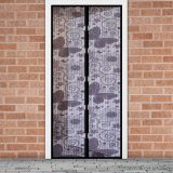 Mosható szúnyogháló függöny ajtóra, mágnessel záródó, 100 x 210 cm (mágneses szúnyogháló), lila pillangós mintával