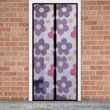 Mosható szúnyogháló függöny ajtóra, mágnessel záródó, 100 x 210 cm (mágneses szúnyogháló), lila virág mintás