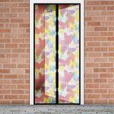 Mosható szúnyogháló függöny ajtóra, mágnessel záródó, 100 x 210 cm (mágneses szúnyogháló), színes pillangós mintával