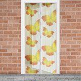 Mosható szúnyogháló függöny ajtóra, mágnessel záródó, 100 x 210 cm (mágneses szúnyogháló), sárga pillangós mintával