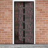 Mosható szúnyogháló függöny ajtóra, mágnessel záródó, 100 x 210 cm (mágneses szúnyogháló), LOVE felirattal