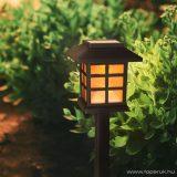 Szolár LED-es napelemes kerti lámpa, pislákoló fényjátékkal, fekete, 29 cm (11403B)