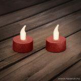 Beltéri elemes csillámos, LED-es teamécses szett (2 db), pislákoló fényjáték, piros színű mécsesek (55245R)