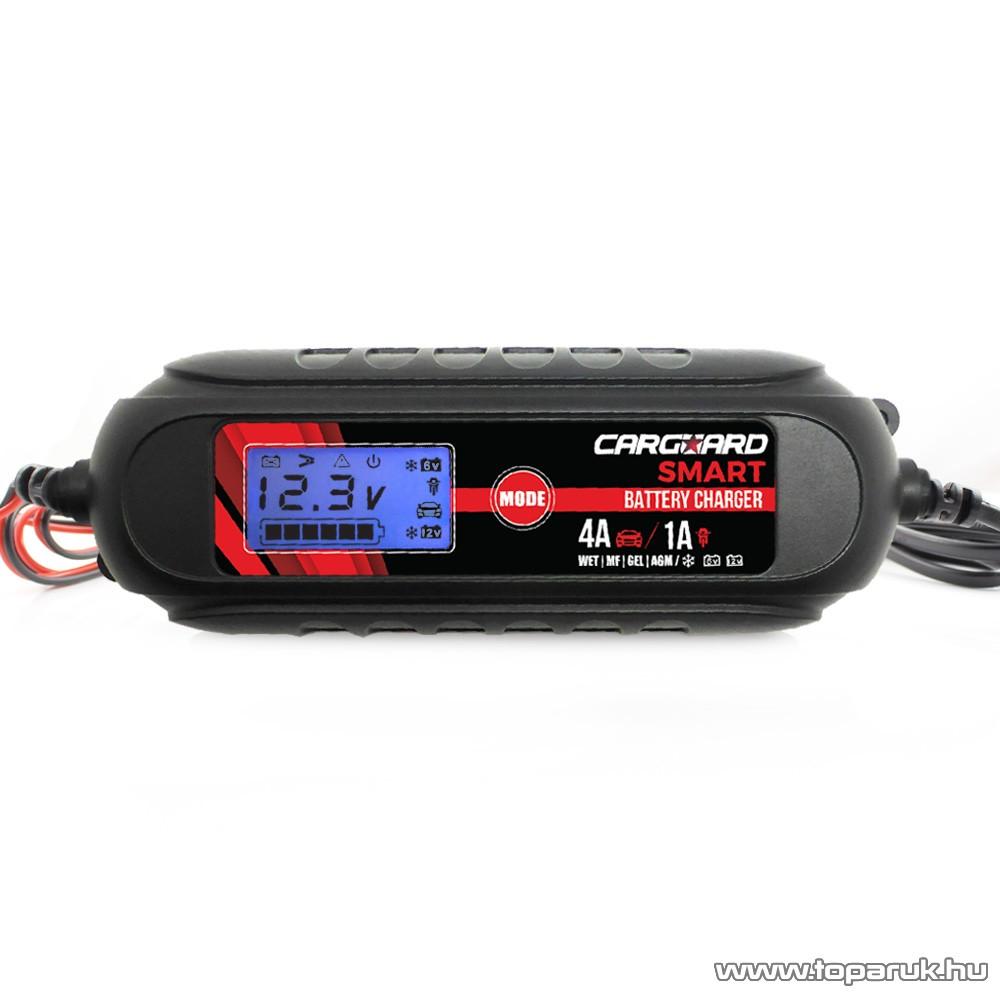 Carguard 55777B LCD kijelzős automata akkumulátor töltő (akkutöltő) autó és motor akkumulátorokhoz, 1 A (6V), 4 A (12V)