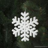 Design Dekor 55955 Beltéri fenyőfa és fenyő girland akasztható dísz, Hókristály hópihe, 20 cm