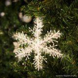 Fenyőfára, girlandra akasztható dekor hópehely, karácsonyfadísz, 15 cm, 6 db / csomag (55979)