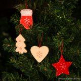 Fából készült karácsonyfadísz szett, 12 db/csomag (55982A)