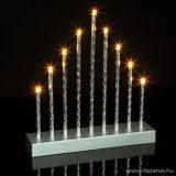 Karácsonyi beltéri elemes LED gyertya ablakdísz dekoráció, 9 LED, melegfehér világítással (58040B)