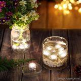 Vízálló világító dekor mécses, 3 db SMD LED-del, meleg fehér világítással (58056)