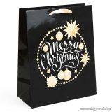 Karácsonyi ajándéktasak, fekete-arany (58070B-1)