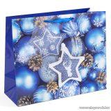 Karácsonyi ajándéktasak, kék karácsonyfadíszek design (58075D)