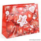 Karácsonyi ajándéktasak, piros karácsonyfadíszek design (58075D)