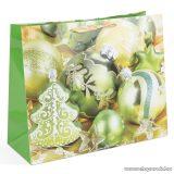Karácsonyi ajándéktasak, zöld karácsonyfadíszek design (58075D)