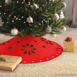 Karácsonyfa talp takaró, terítő, piros, 90 cm átmérő (58276)