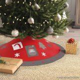 Karácsonyfa talp takaró, terítő, piros-szürke szegéllyel, 97 cm átmérő (58277A)