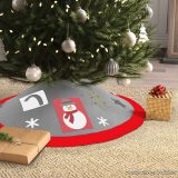 Karácsonyfa talp takaró, terítő, szürke-piros szegéllyel, 97 cm átmérő (58277B)