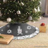 Karácsonyfa talp takaró, terítő, szürke-ezüst szegéllyel, 97 cm átmérő (58277C)