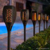 Napelemes, lángokat imitáló kerti szolár LED lámpa, fekete (11262)