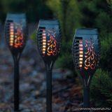 Garden of edeN 11262B Lángokat imitáló szolár napelemes kerti LED lámpa, fekete, 4 db / SZETT