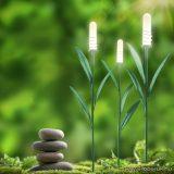 Napelemes LED-es kerti szolár lámpa, nád formájú, melegfehér fényű, 3 db / csomag (11257)