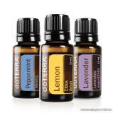 doTERRA Esszenciális olaj kezdő csomag, levendula, citrom és bormenta, 3 x 15 ml