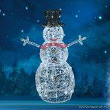 HOME KDA 9 Kültéri akril hóember, 80 db hidegfehér / melegfehér, kiválasztható színű LED-del, 90 cm magas