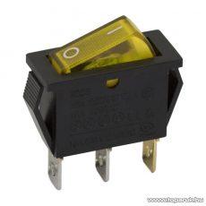 Billenő kapcsoló, 1 áramkör, 10A-250V, OFF-ON, sárga világítással, 5 db / csomag (09050SA)