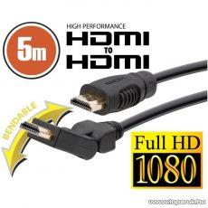 neXus Professzionális HDMI kábel, 5 m, hajlítható csatlakozóval, bliszterrel (20399) - készlethiány