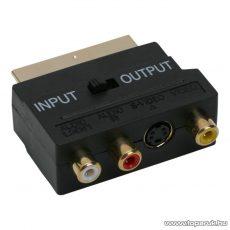 EURO / RCA átalakító, 3 RCA és S-VIDEO aljzat - EURO-SCART dugó, aranyozott (V 50SG)