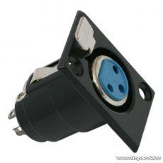 XLR aljzat csatlakozó, 3 pólusú, beépíthető, fekete, 10 db / csomag (05195)